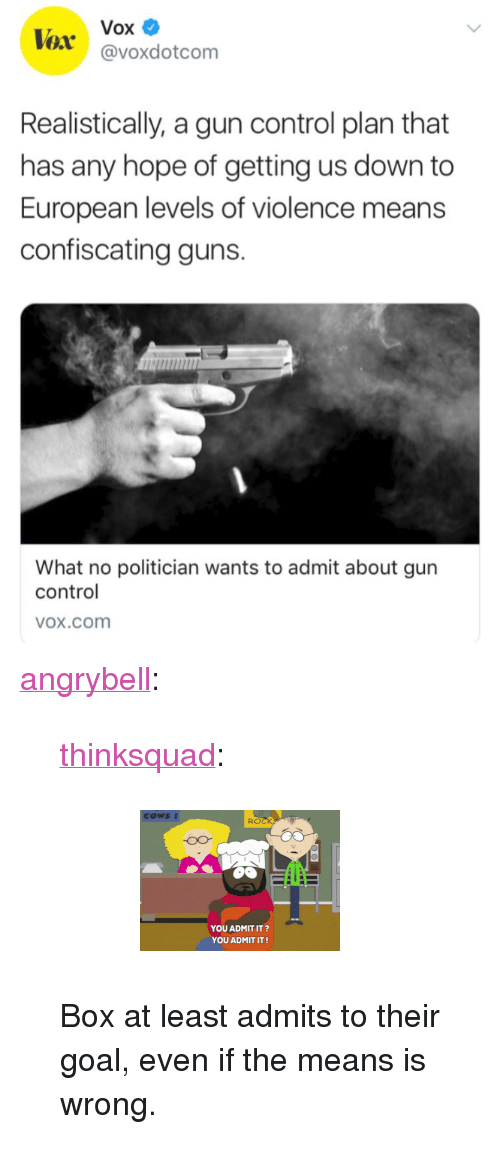"""vox: Vox  @voxdotcom  Realistically, a gun control plan that  has any hope of getting us down to  European levels of violence means  confiscating guns.  What no politician wants to admit about gun  control  OX.cOom <p><a href=""""http://angrybell.tumblr.com/post/171900549012/thinksquad-box-at-least-admits-to-their-goal"""" class=""""tumblr_blog"""">angrybell</a>:</p>  <blockquote><p><a href=""""http://think-squad.com/post/171895518157"""" class=""""tumblr_blog"""">thinksquad</a>:</p>  <blockquote><figure data-orig-height=""""141"""" data-orig-width=""""200""""><img src=""""https://78.media.tumblr.com/7c3837270c759cc31b56ee4b7e0b1478/tumblr_inline_p5m5rqreC71qifyvs_540.gif"""" data-orig-height=""""141"""" data-orig-width=""""200""""/></figure></blockquote>  <p>Box at least admits to their goal, even if the means is wrong.</p></blockquote>"""