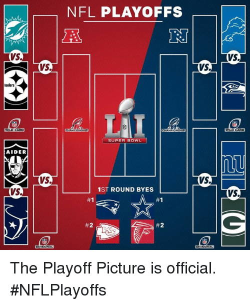 Memes, Nfl, and NFL Playoffs: Vs.  teelers  WILDCARD  AIDER  VS.  VS.  Vs.  NFL PLAYOFFS  CHAMPIONSHIP  SUPER BOWL  1ST ROUND BYES  #1  L #2  VS.  VS.  VS.  WILDCARD  VS. The Playoff Picture is official.  #NFLPlayoffs