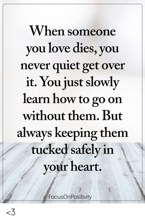 Tucked: VV hen soneone  you love dies, you  never quiet get over  it. You just slowly  learn how to go on  without them. But  always keeping them  tucked safely in  your heart  FocusOnPositivity <3