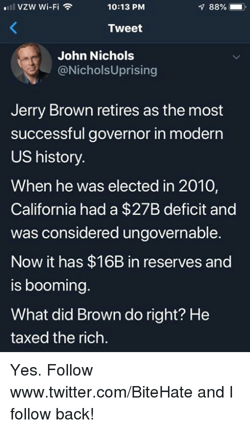 governor: VZW Wi-Fi  10:13 PM  88%  ).  Tweet  John Nichols  @NicholsUprising  Jerry Brown retires as the most  successful governor in moderr  US history.  When he was elected in 2010,  California had a $27B deficit and  was considered ungovernable.  Now it has $16B in reserves and  is booming.  What did Brown do right? He  taxed the rich. Yes.  Follow www.twitter.com/BiteHate and I follow back!