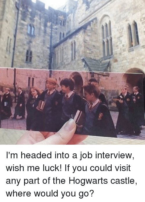 Job Interview, Memes, and Luck: w I'm headed into a job interview, wish me luck! If you could visit any part of the Hogwarts castle, where would you go?
