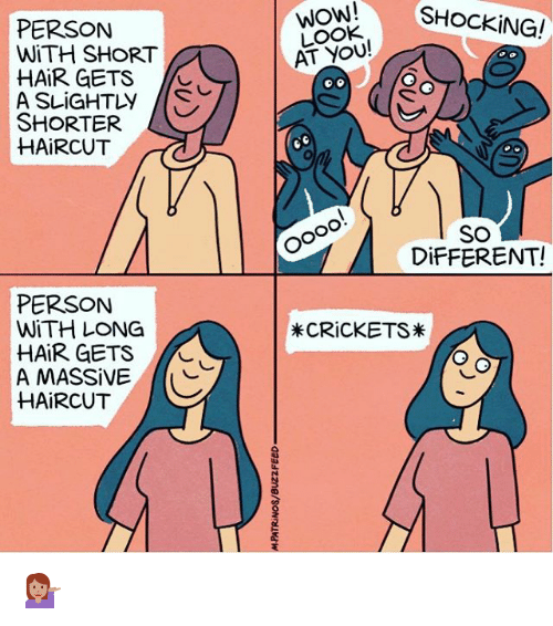 Haircut, Wow, and Hair: W!SHOCKING!  PERSON  WiTH SHORT  HAIR GETS  WOW!  LOOK  AT YOU!  SHORTER  HAiRCUT  SO  DiFFERENT!  PERSON  WiTH LONG  HAIR GETS  A MASSIVE  HAiRCUT  *CRiCKETS 💁🏽
