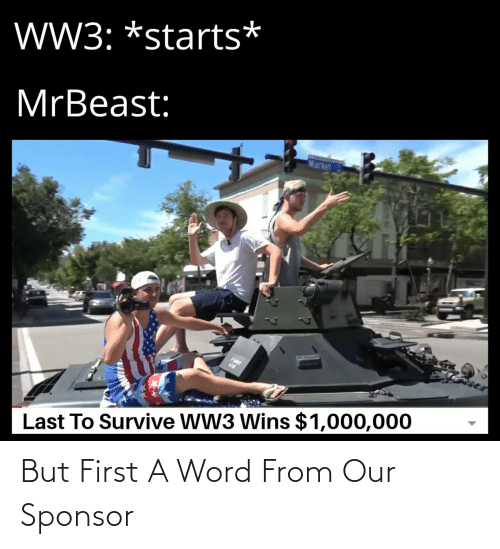 ww3: W3: *starts*  MrBeast:  Market  FIST  Last To Survive WW3 Wins $1,000,000 But First A Word From Our Sponsor