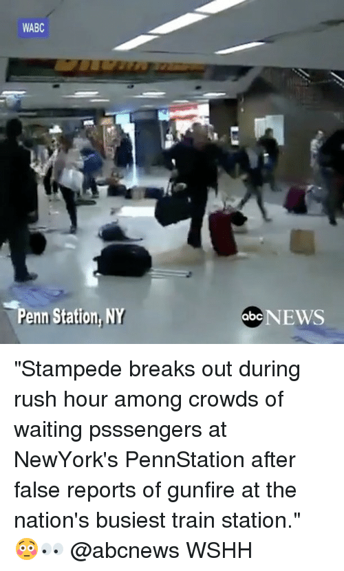 """Abc, Memes, and News: WABC  Penn Station, NY  abc NEWS """"Stampede breaks out during rush hour among crowds of waiting psssengers at NewYork's PennStation after false reports of gunfire at the nation's busiest train station."""" 😳👀 @abcnews WSHH"""
