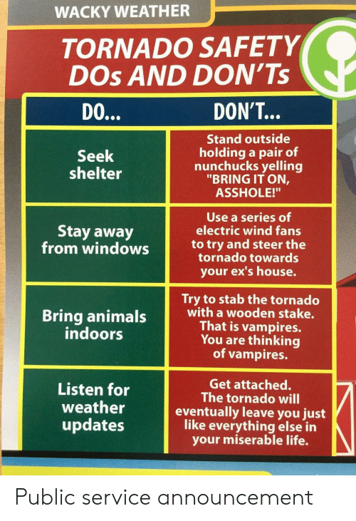 """Ex's: WACKY WEATHER  TORNADO SAFETY  DOs AND DON'Ts  DO  DON'T...  Stand outside  holding a pair of  nunchucks yelling  """"BRING IT ON,  ASSHOLE!""""  Seek  shelter  Use a series of  electric wind fans  Stay away  from windowsto try and steer the  tornado towards  your ex's house.  Try to stab the tornado  with a wooden stake.  That is vampires.  You are thinking  of vampires.  indoors  Listen for  weather  updates  Get attached.  The tornado will  eventually leave you just  like everything else in  your miserable life. Public service announcement"""