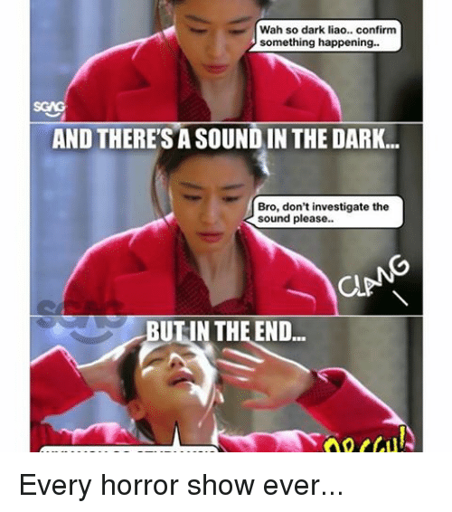Memes, 🤖, and Dark: Wah so dark liao.. confirm  something happening.  AND THERESA SOUNDIN THE DARK...  Bro, don't investigate the  sound please..  aPN  UUN THE END... Every horror show ever...