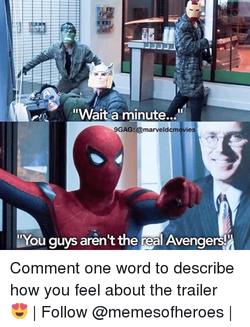 "9gag, Memes, and The Real: ""Wait a minute...  9GAG: marveldecmovies  You guys aren't the real Avengers! Comment one word to describe how you feel about the trailer 😍 