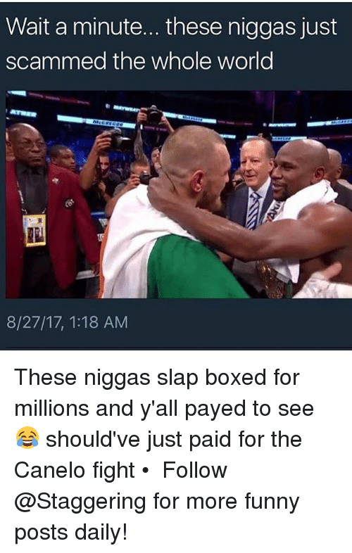 Funny, World, and Fight: Wait a minute... these niggas just  scammed the whole world  8/27/17, 1:18 AM These niggas slap boxed for millions and y'all payed to see 😂 should've just paid for the Canelo fight • ➫➫➫ Follow @Staggering for more funny posts daily!
