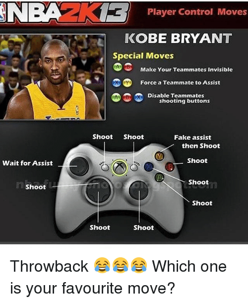 Fake, Kobe Bryant, and Memes: Wait for Assist  Shoot  Player Control Moves  KOBE BRYANT  Special Moves  CA Make Your Teammates Invisible  Force a Teammate to Assist  Disable Teammates  shooting buttons  Shoot Shoot  Fake assist  then Shoot  Shoot  Shoot  Shoot  Shoot  Shoot Throwback 😂😂😂 Which one is your favourite move?