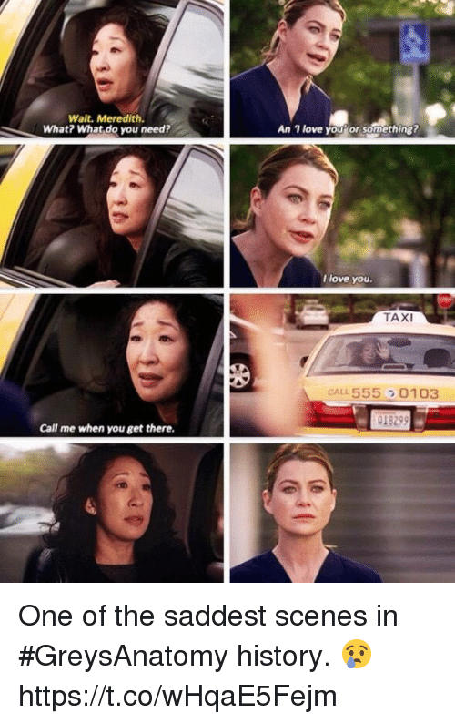 Love, Memes, and History: Wait. Meredith.  What? What do you need?  1 love youor something?  An  l love you.  TAXI  CAL L 555  0103  Call me when you get there. One of the saddest scenes in #GreysAnatomy history. 😢 https://t.co/wHqaE5Fejm