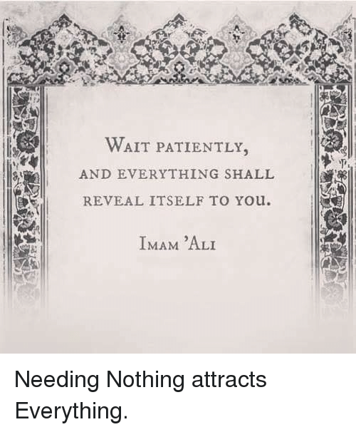 Waiting Patiently: WAIT PATIENTLY.  AND EVERYTHING SHALL  REVEAL ITSELF TO Youl.  IMAM 'ALI Needing Nothing attracts Everything.