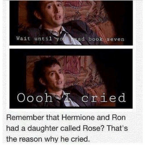Hermione, Memes, and Book: Wait until y  ad book seven  oooh cried  Remember that Hermione and Ron  had a daughter called Rose? That's  the reason why he cried