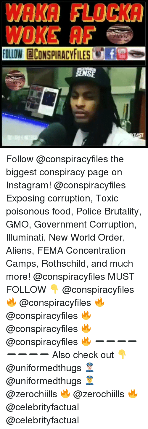 Waka Flocka: WAKA FLOCKA  WOKE AF  FOLLOW CONSPIRACYFILESfes Follow @conspiracyfiles the biggest conspiracy page on Instagram! @conspiracyfiles Exposing corruption, Toxic poisonous food, Police Brutality, GMO, Government Corruption, Illuminati, New World Order, Aliens, FEMA Concentration Camps, Rothschild, and much more! @conspiracyfiles MUST FOLLOW 👇 @conspiracyfiles 🔥 @conspiracyfiles 🔥 @conspiracyfiles 🔥 @conspiracyfiles 🔥 @conspiracyfiles 🔥 ➖➖➖➖➖➖➖➖ Also check out 👇 @uniformedthugs 👮🏻 @uniformedthugs 👮 @zerochiills 🔥 @zerochiills 🔥 @celebrityfactual @celebrityfactual