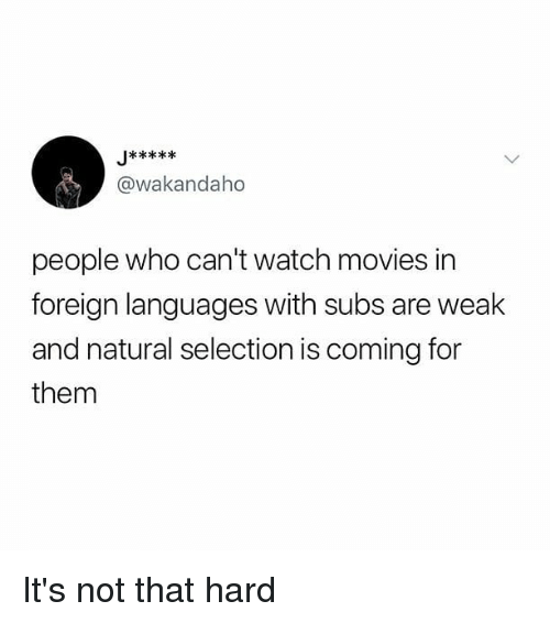 Memes, Movies, and Watch: @wakandaho  people who can't watch movies in  foreign languages with subs are weak  and natural selection is coming for  them It's not that hard