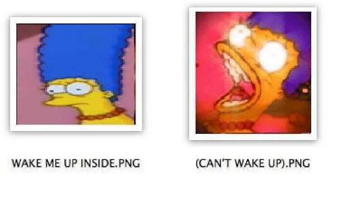 Irl and Wake Me Up: WAKE ME UP INSIDE, PNG  (CAN'T WAKE UP.PNG