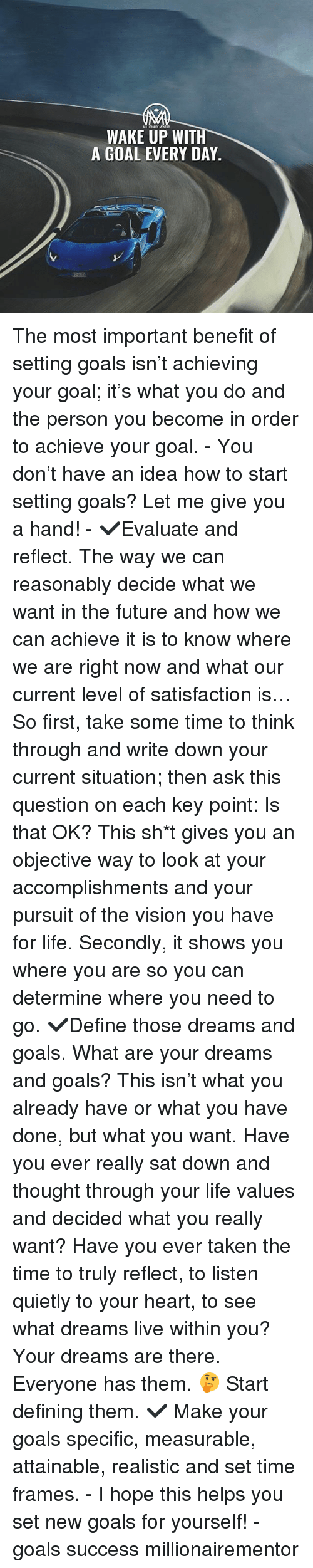 my thoughts on success and achieving satisfaction
