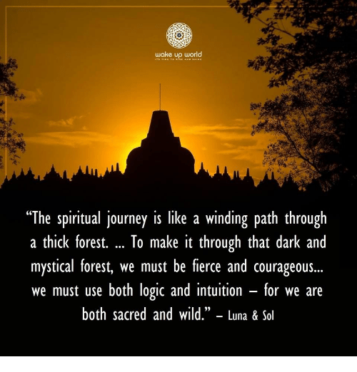 "mystical: wake up world  ""The spiritual journey is like a winding path through  a thick forest. To make it through that dark and  mystical forest, we must be fierce and courageous...  we must use both logic and intuition - for we are  both sacred and wild."" - Luna & Sol  (C"