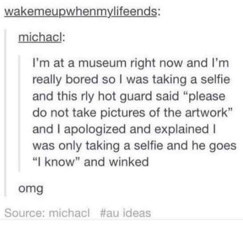 """micha: wakemeupwhenmylifeends:  chacl  I'm at a museum right now and I'm  really bored s  l was taking a selfie  and this rly hot guard said """"please  do not take pictures of the artwork""""  and apologized and explained l  was only taking a selfie and he goes  """"I know"""" and winked  Omg  Source: micha cl #au ideas"""