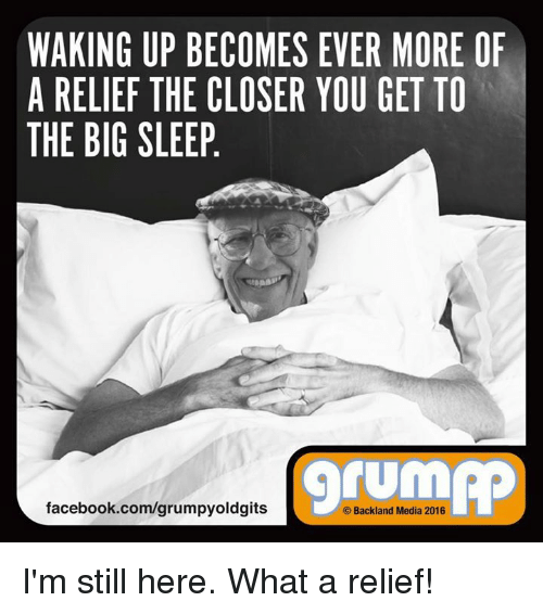 Memes, The Closer, and 🤖: WAKING UP BECOMES EVER MORE OF  A RELIEF THE CLOSER YOU GET TO  THE BIG SLEEP  TUM  facebook.com/grumpyoldgits  Backland Media 2016 I'm still here. What a relief!