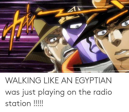 Egyptian: WALKING LIKE AN EGYPTIAN was just playing on the radio station !!!!!