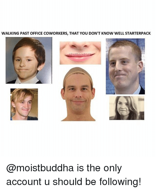 Memes, Office, and Coworkers: WALKING PAST OFFICE COWORKERS, THAT YOU DON'T KNOW WELL STARTERPACK @moistbuddha is the only account u should be following!