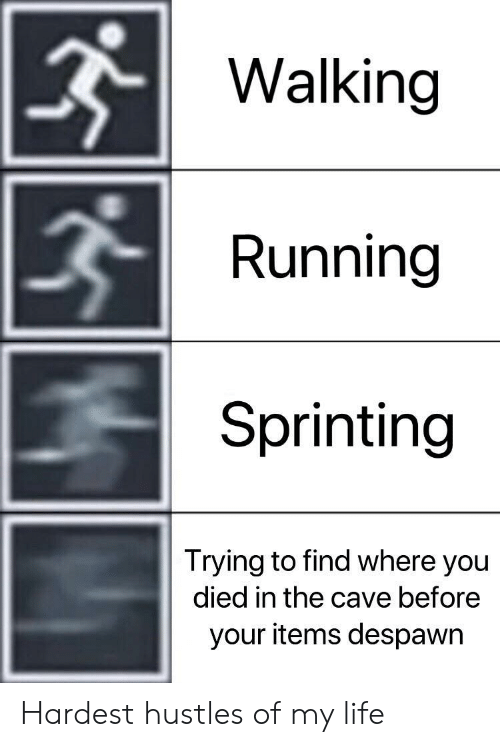 the cave: Walking  Running  Sprinting  Trying to find where you  died in the cave before  your items despawr Hardest hustles of my life
