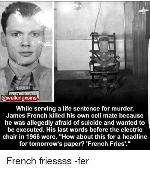"Life, Memes, and Suicide: @walkingxsins  While serving a life sentence for murder,  James French killed his own cell mate because  he was allegedly afraid of suicide and wanted to  be executed. His last words before the electric  chair in 1966 were, ""How about this for a headline  for tomorrow's paper? 'French Fries'."" French friessss -fer"