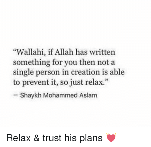 """Just Relaxing: """"Wallahi, if Allah has written  something for you then not a  single person in creation is able  to prevent it, so just relax.""""  Shaykh Mohammed Aslam Relax & trust his plans 💓"""