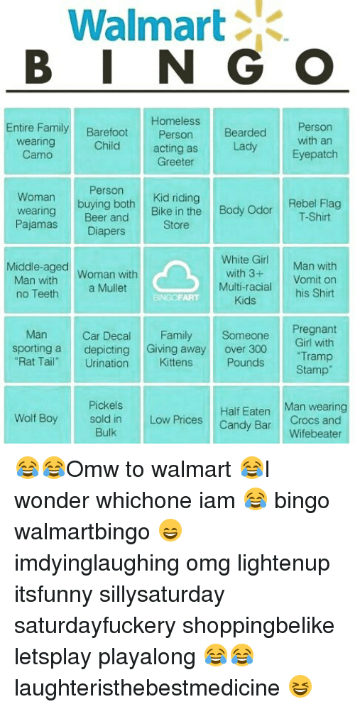 Crocs, Memes, and White Girl: Walmart B I N G O Entire Family Homeless  Barefoot Person Wearing