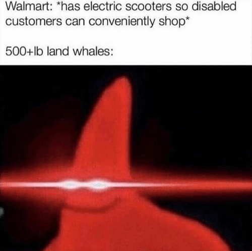 Disabled: Walmart: *has electric scooters so disabled  customers can conveniently shop*  500+lb land whales :