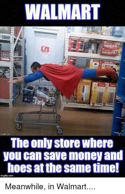 Meanwhile In Walmart: WALMART  imgfip.  The onky store where  you can save money and  hoes at the same time!  imgflip.com Meanwhile, in Walmart....