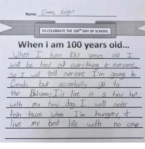 canda: Wame Emma knighr  TO CELEBRATE THE 100t DAY OF SCHOOL  When i am 100 years old...  everyon  so T wil) tell euryone Im goiną to  Canda but auwially to  the Bhomas live in a tiny hut  WI  sh