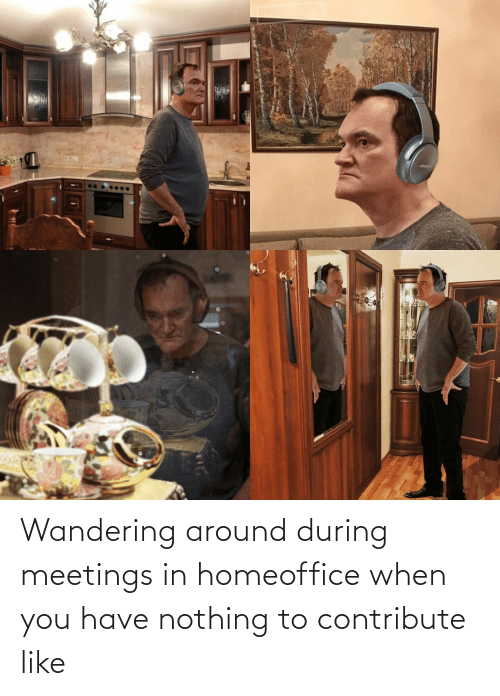 Meetings: Wandering around during meetings in homeoffice when you have nothing to contribute like