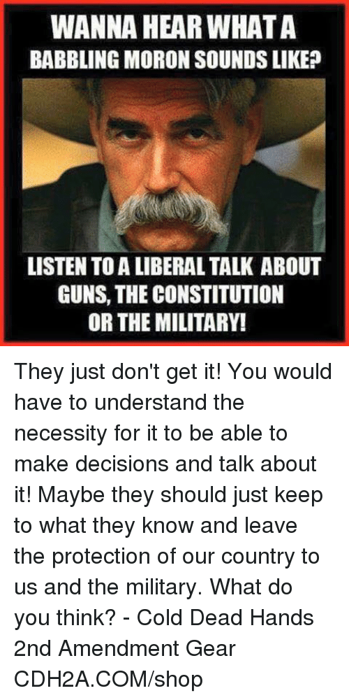 Military: WANNA HEAR WHATA  BABBLING MORON SOUNDS LIKE?  LISTEN TO A LIBERAL TALK ABOUT  GUNS, THE CONSTITUTION  OR THE MILITARY! They just don't get it!  You would have to understand the necessity for it to be able to make decisions and talk about it!  Maybe they should just keep to what they know and leave the protection of our country to us and the military. What do you think? - Cold Dead Hands 2nd Amendment Gear CDH2A.COM/shop