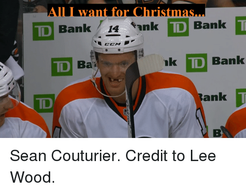Bank, Td Bank, and Wanted: want for Christ  TD Bank  14  *ank TD Bank  D  Bank  TD Ba  Bank Sean Couturier.  Credit to Lee Wood.