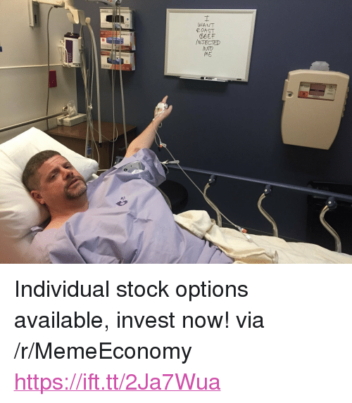 """stock options: WANT  OAST  BetF  /NJECTED  130  Ro  ME <p>Individual stock options available, invest now! via /r/MemeEconomy <a href=""""https://ift.tt/2Ja7Wua"""">https://ift.tt/2Ja7Wua</a></p>"""