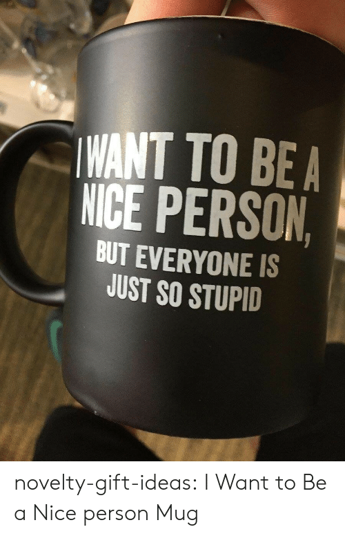 so stupid: WANT TO BEA  NICE PERSON  BUT EVERYONE IS  JUST SO STUPID novelty-gift-ideas:  I Want to Be a Nice person Mug