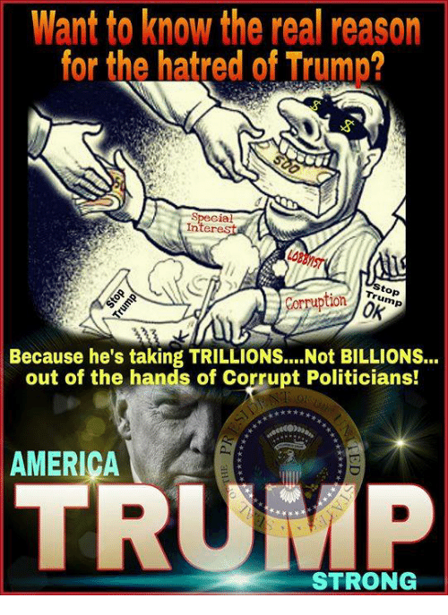 America, The Real, and Trump: Want to know the real reason  for the hatred of Trump?  Special  Interes  Corruptionm  0K  Because he's taking TRILLIONS.... Not BILLIONS...  out of the hands of Corrupt Politicians!  AMERIÇA  TRUMP  STRONG