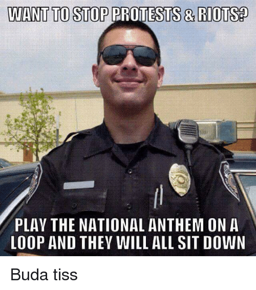 Riot, National Anthem, and Pro: WANT TO STOP PRO   & RIOTS   PLAY THE NATIONAL ANTHEM ON A   LOOP AND THEY WILL ALL SIT DOWN  Buda tiss