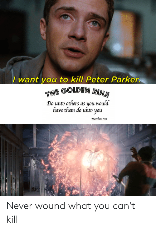 The Golden Rule: / want you to kill Peter Parker.  THE GOLDEN RULE  Do unto others as you would  have them do unto you  Matthew 7:12 Never wound what you can't kill