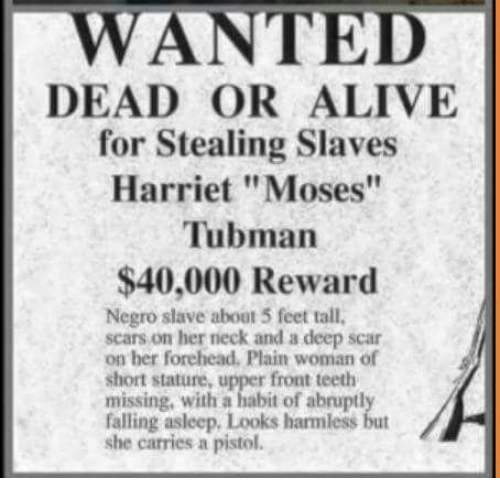 """Alive, Dead or Alive, and Memes: WANTED  DEAD OR ALIVE  for Stealing Slaves  Harriet """"Moses""""  Tubmarn  $40,000 Reward  Negro slave about 5 feet tall,  scars on her neck and a deep scar  on her forehead. Plain woman of  short stature. upper front teeth  missing, with a habit of abruptl  falling asleep, Looks harmless but  she carries a pistol."""