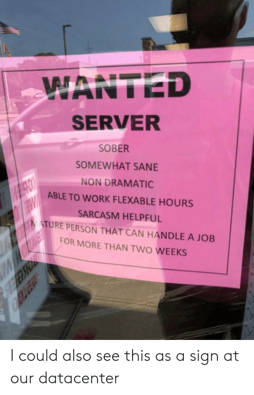 Somewhat: WANTED  SERVER  SOBER  SOMEWHAT SANE  NON DRAMATIC  MRO  ABLE TO WORK FLEXABLE HOURS  SARCASM HELPFUL  MATURE PERSON THAT CAN HANDLE A JOB  FOR MORE THAN TWO WEEKS  Daa I could also see this as a sign at our datacenter