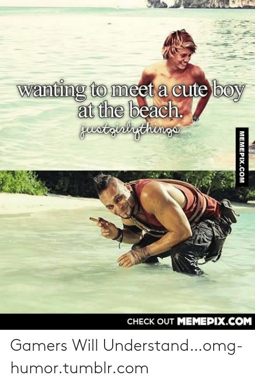 Gamers Will: wanting to meet a cute boy  at the beach.  justgrlythingo  CHECK OUT MEMEPIX.COM  MEMEPIX.COM Gamers Will Understand…omg-humor.tumblr.com