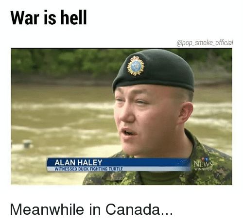 meanwhile in canada: War is hell  @pop_smoke official  ALAN HALEY  EW  ITNESSED DUCK FIGHTING TURTLE  WINNI Meanwhile in Canada...