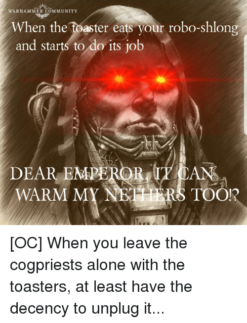 Nethers: WARHAMMER COMMUNITY  When the toaster eats your robo-shlong  and starts to do its ob  DEAR EMPEROR, IT CAN  WARM MY NETHERS TOO!?