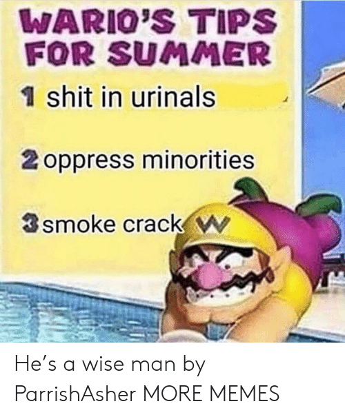 Wise Man: WARIO'S TIPS  FOR SUMMER  1 shit in urinals  2 oppress minorities  smoke crack w He's a wise man by ParrishAsher MORE MEMES