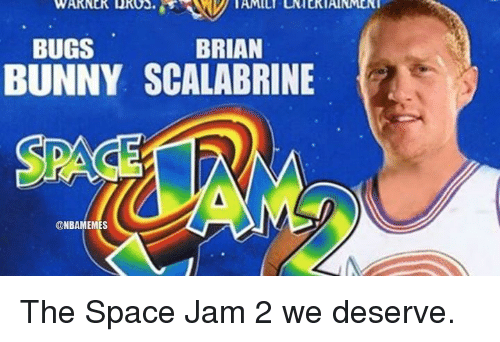 Bugs Bunny, Bunnies, and Nba: WARNER DROO.  BRIAN  BUGS  BUNNY SCALABRINE  @NBAMEMES The Space Jam 2 we deserve.
