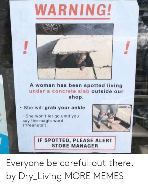 "dry: WARNING!  A woman has been spotted living  under a concrete slab outside our  shop.  She will grab your ankle  She won't let go until you  say the magic word  (""Peanuts"").  IF SPOTTED, PLEASE ALERT  STORE MANAGER Everyone be careful out there. by Dry_Living MORE MEMES"