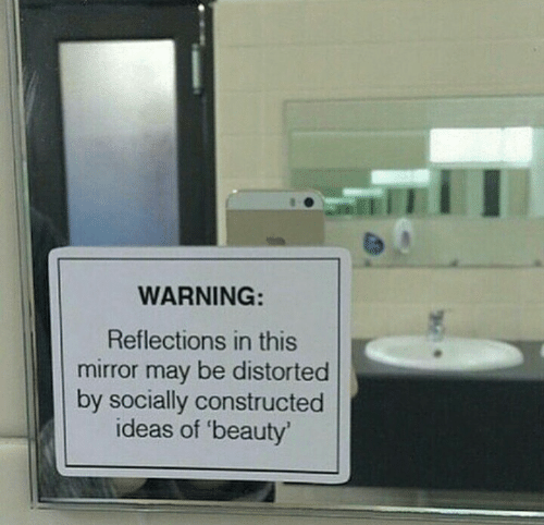 Reflections: WARNING:  Reflections in this  mirror may be distorted  by socially constructed  ideas of 'beauty