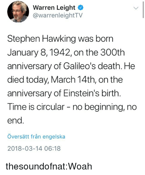 March 14Th: Warren Leight  @warrenleightTV  Stephen Hawking was born  January 8,1942, on the 300th  anniversary of Galileo's death. He  died today, March 14th, on the  anniversary of Einstein's birth.  Time is circular - no beginning, no  end  översätt från engelska  2018-03-14 06:18 thesoundofnat:Woah
